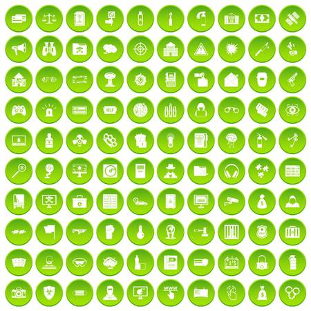 100 hacking icons set green circle isolated on white background vector illustration