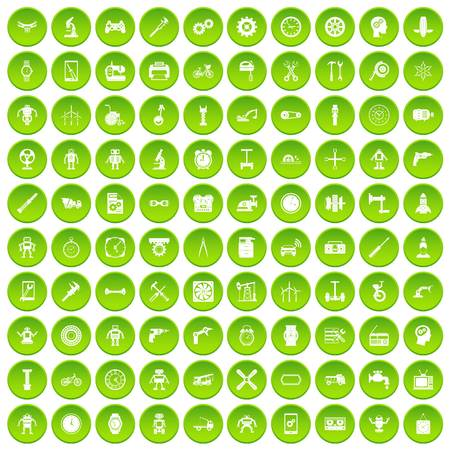 100 gear icons set green circle isolated on white background vector illustration Illustration