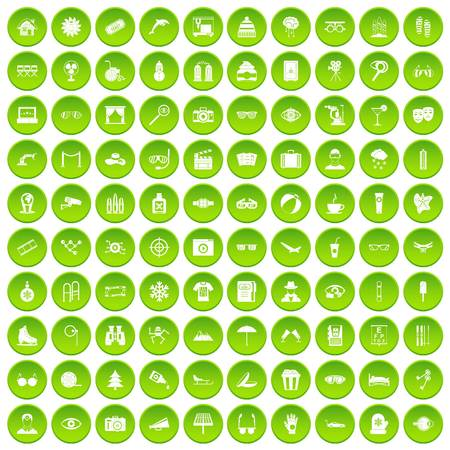 100 glasses icons set green circle isolated on white background vector illustration