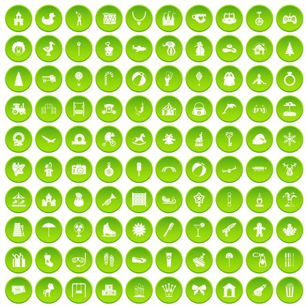 100 happy childhood icons set green circle isolated on white background vector illustration