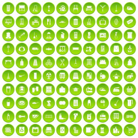 100 housework icons set green circle isolated on white background vector illustration