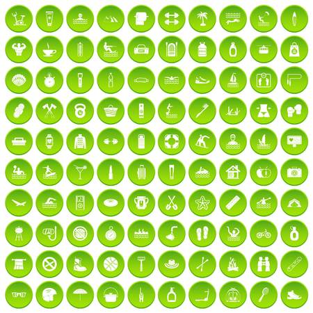 100 human health icons set green circle isolated on white background vector illustration Illustration