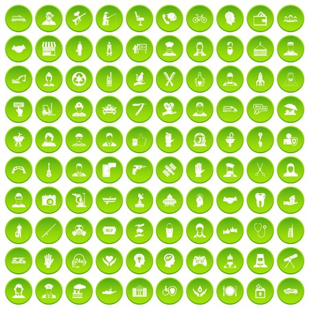 100 human resources icons set green circle isolated on white background vector illustration Stock Illustratie