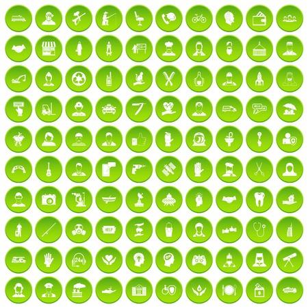 100 personeelspictogrammen geplaatst groene die cirkel op witte vectorillustratie wordt geïsoleerd als achtergrond Stock Illustratie