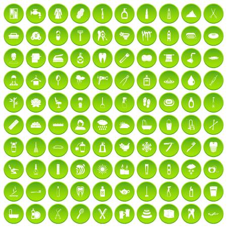 100 hygiene icons set green circle isolated on white background vector illustration