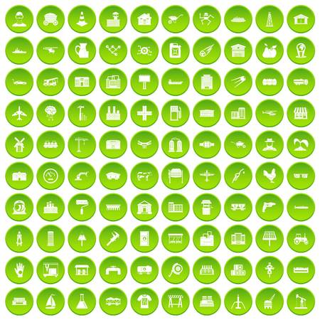 100 industry icons set green circle isolated on white background vector illustration