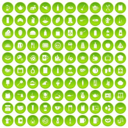 100 kitchen icons set green circle isolated on white background vector illustration
