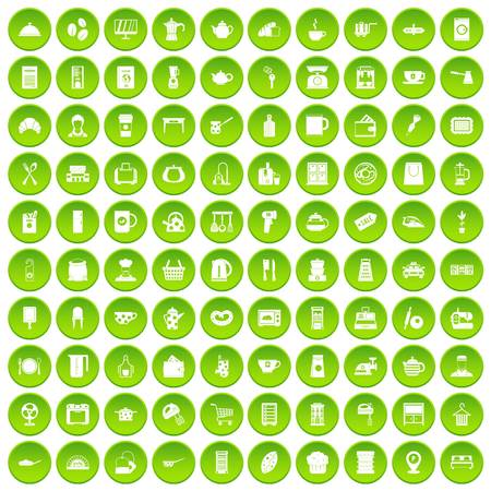 100 kitchen utensils icons set green circle isolated on white background vector illustration