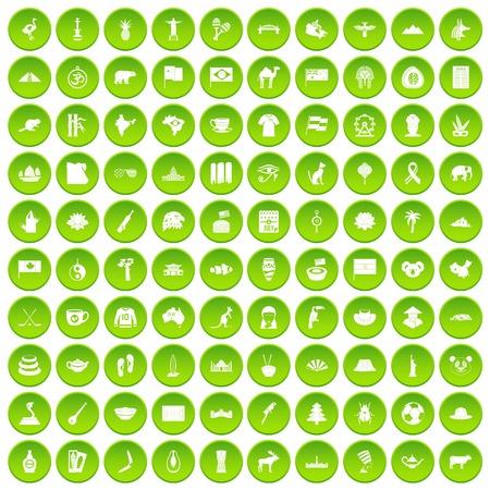 100 landmarks icons set green circle isolated on white background vector illustration