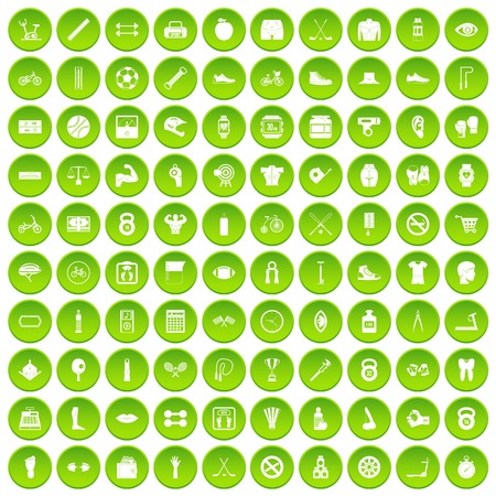100 kettlebell icons set green circle isolated on white background vector illustration Illustration