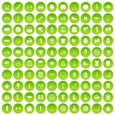 100 kettlebell icons set green circle isolated on white background vector illustration Illustration