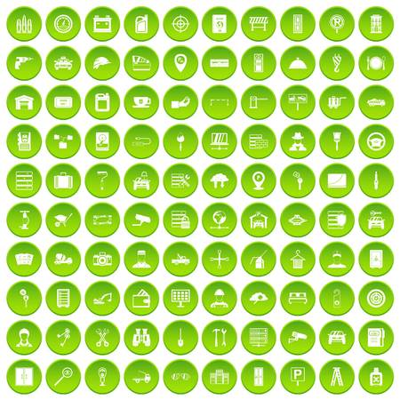 bullet camera: 100 keys icons set green circle isolated on white background vector illustration