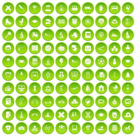 100 kids icons set green circle isolated on white background vector illustration