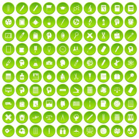 100 learning icons set green circle isolated on white background vector illustration Illustration