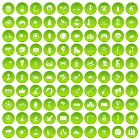 100 kids activity icons set green circle isolated on white background vector illustration