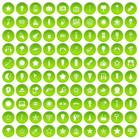 100 light icons set green circle isolated on white background vector illustration Illustration