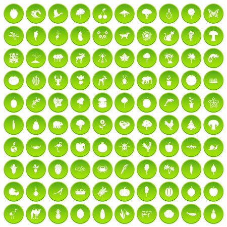 100 live nature icons set green circle isolated on white background vector illustration