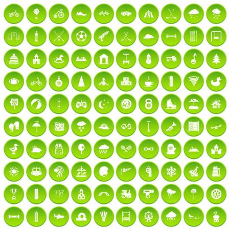 100 kids games icons set green circle isolated on white background vector illustration