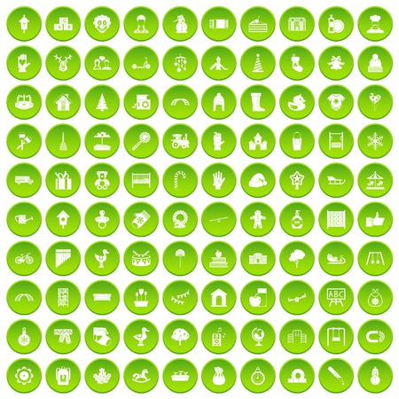 100 kindergarten icons set green circle isolated on white background vector illustration Illustration