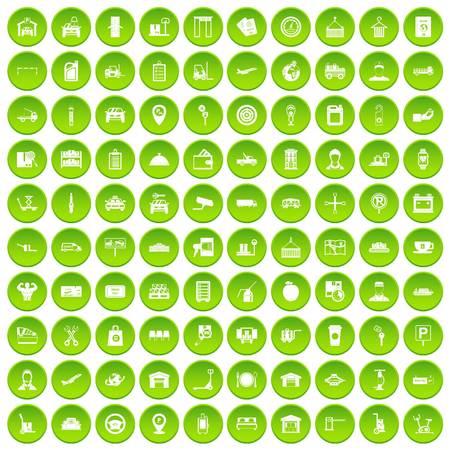 100 loader icons set green circle isolated on white background vector illustration Illustration
