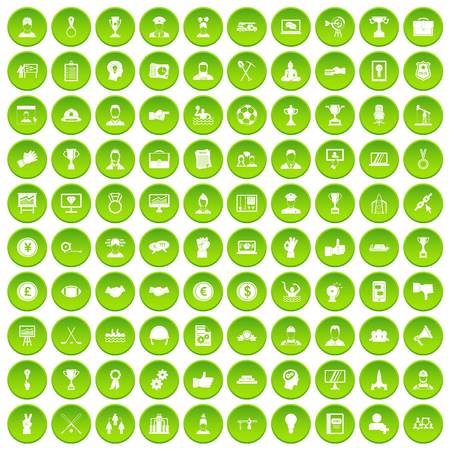 100 leadership icons set green circle isolated on white background vector illustration