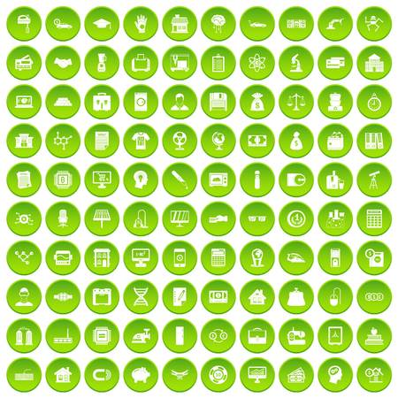 100 loans icons set green circle isolated on white background vector illustration