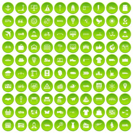 finishing: 100 logistic and delivery icons set green circle isolated on white background vector illustration