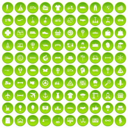 100 logistics icons set green circle isolated on white background vector illustration
