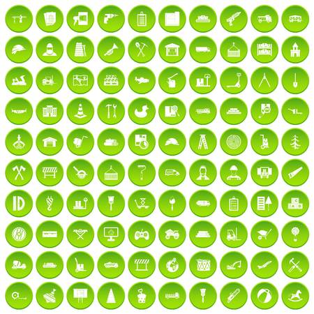 100 lorry icons set green circle isolated on white background vector illustration Illustration