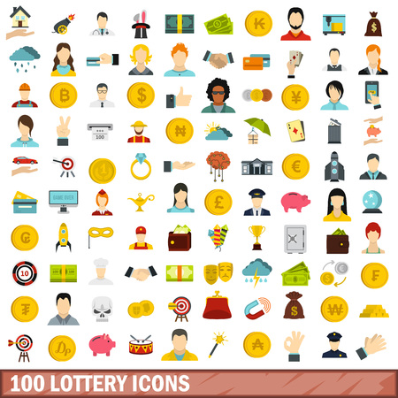 100 lottery icons set in flat style for any design vector illustration