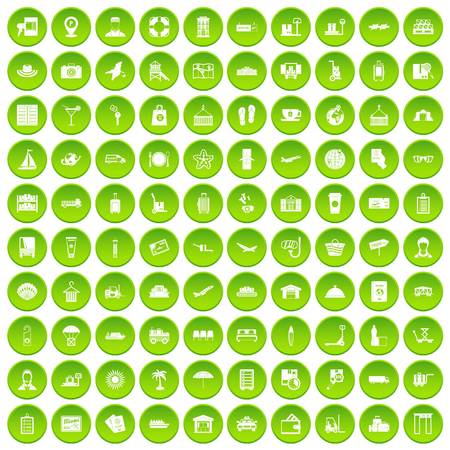 100 luggage icons set green circle isolated on white background vector illustration Illustration