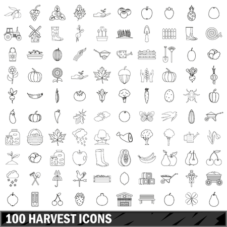 hand shovels: 100 harvest icons set in outline style for any design vector illustration