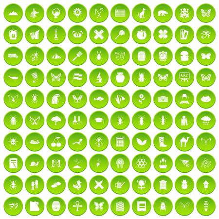 100 insects icons set green circle isolated on white background vector illustration Illustration
