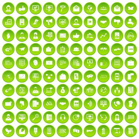 100 interaction icons set green circle isolated on white background vector illustration