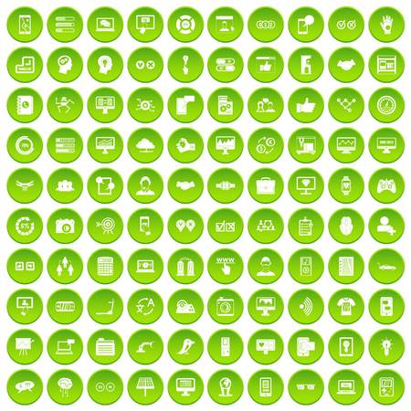 100 interface icons set green circle isolated on white background vector illustration