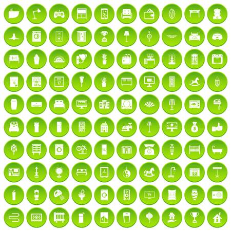 100 interior icons set green circle isolated on white background vector illustration