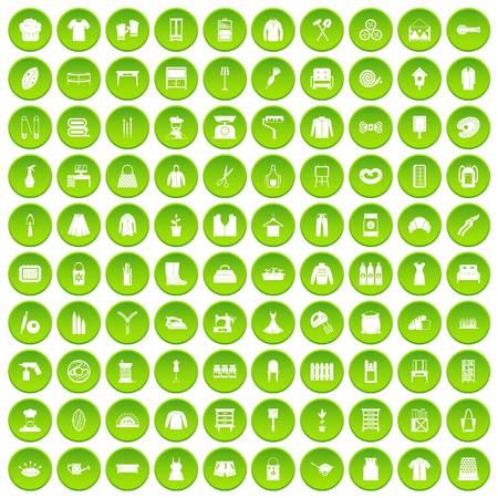 100 needlework icons set green circle isolated on white background vector illustration