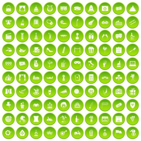 100 mask icons set green circle