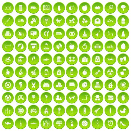 100 maternity leave icons set green circle
