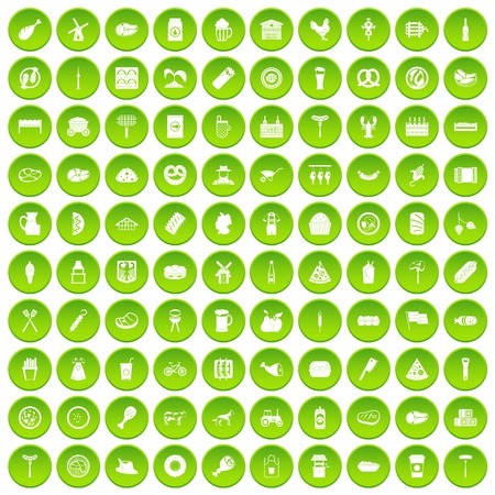 100 meat icons set green circle Illustration