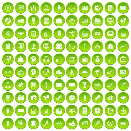 100 media icons set green circle Illustration