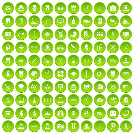 100 medical icons set green circle