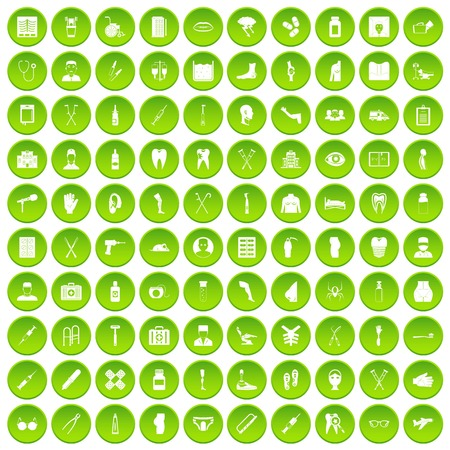 100 medical care icons set green circle Stock Vector - 80020902