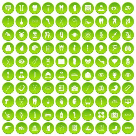 100 medicine icons set green circle