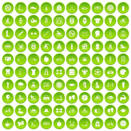 100 men health icons set green circle