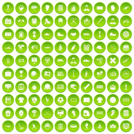 100 mens team icons set green circle isolated on white background vector illustration