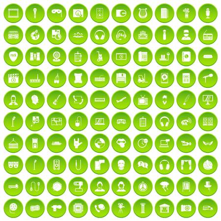 100 microphone icons set green circle isolated on white background vector illustration Illustration