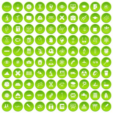 eyepiece: 100 microscope icons set green circle isolated on white background vector illustration