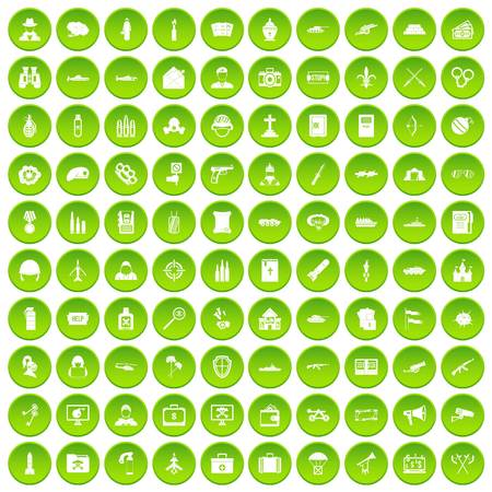 100 military icons set green circle isolated on white background vector illustration Illustration