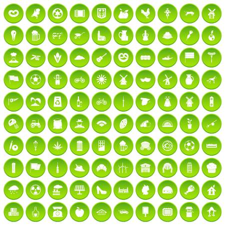 100 mill icons set green circle isolated on white background vector illustration Illustration
